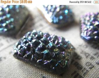 SALE 30% Off Montana Blue AB Vintage Glass Sugar Stones 18X13mm Octagons 4 Pcs