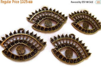 SALE 30% Off Eye See You Charms Antiqued Brass with Settings 4 Pcs