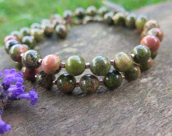 Unakite Double Wrap Bracelet - Gemstone Green and Peach - Feather - Olive - Natural Bohemian - Festival Fashion Choker Necklace - Meadow