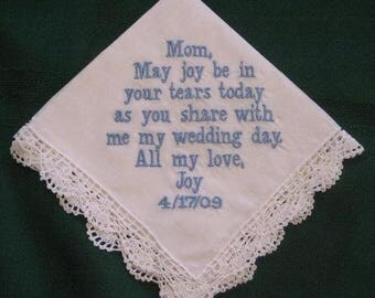ON SALE Personalized Wedding Gift,  Handkerchief hanky hankie for Mother of the Bride  with Gift Box 16B includes shipping in the Us