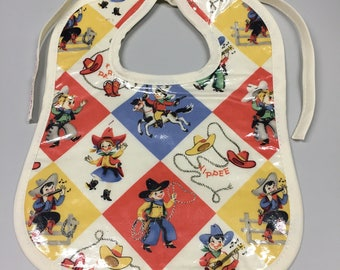 Wipeable Baby Bibs - Retro Cowboy