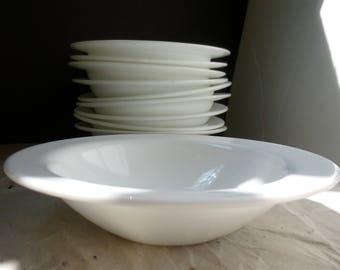 Arcopal White Glass Soup Bowl Set of 4 Made in France Classic Tableware