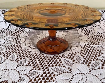 Vintage Amber Tear Drop Indiana Glass Cake Stand