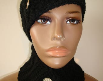 Black Hat and Neckwarmer Set - Cowl, Cap, Crochet hat set - handmade cap and scarf -Silver Buttons