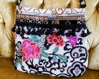 Black and white applique purse