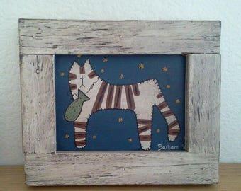 Framed painted  primitive  folkart  cat