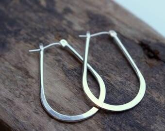 Sterling Silver Lever Catch Hoop Earrings