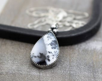 Dendritic Opal Sterling Silver Necklace