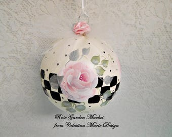 Stately Checked Pink Rose Glass Ornament, Hand Painted, Artist Collectible, Designer Christmas Ornament, Holiday Decor, ECS