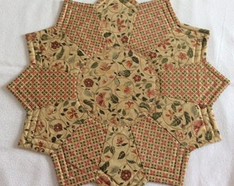 Peach, green and gold Reversible Candlemat; Miniature Quilt; Small Quilt;Table mat,