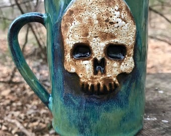 Skull Mug in Green/Blue