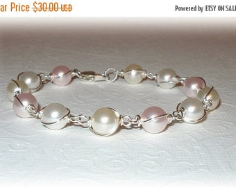20% OFF Pearl Wrapped Bracelet Swarovski Crystal Pearls Bridal Party Wedding Bridesmaids Jewelry Pink White Blush