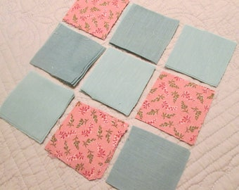 "Vintage Quilt Blocks - Large Batch of Precut 3"" Quilt Blocks - Peach and Mint/ Print and Solid/ Cotton Blend"