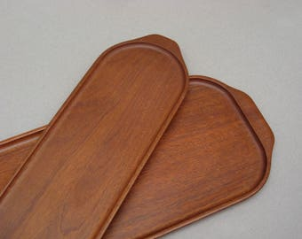 Teak Serving Trays Mid Century Modern Oblong Teak Trays Danish Modern Home Decor