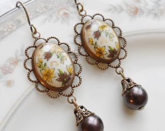 50% Off, Fall Meadow, Vintage Cameo Earrings, Vintage Beads