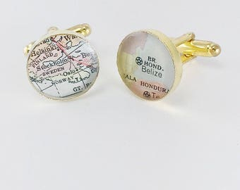 Personalized Cufflinks Gold Plated Vintage Map Cuff Links