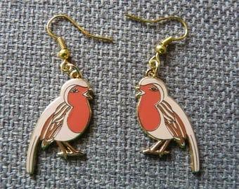Enamel Robin Earrings