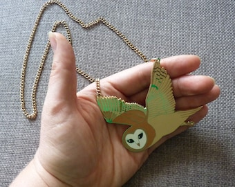 Enamel Barn Owl Necklace * Reduced second