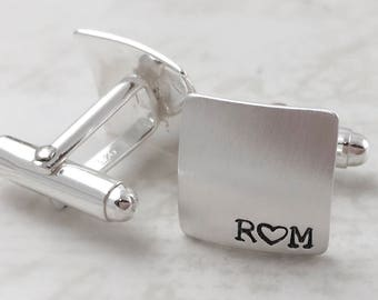 Inspirational, Sterling silver cufflinks, anniversary square cufflinks, personalized cuff links, mens personalized cufflinks