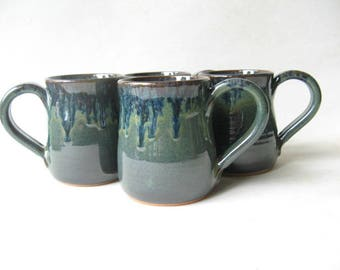 Pottery Mugs 12 oz Set of 4, Set of 4 Coffee Mugs, Set of Handmade Pottery Mugs, Set of 12 oz. Mugs