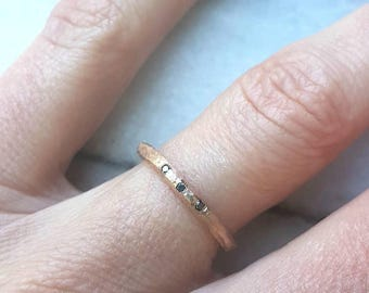 rough solid 10k rose gold ring with black diamonds- mark of the maker- wedding ring