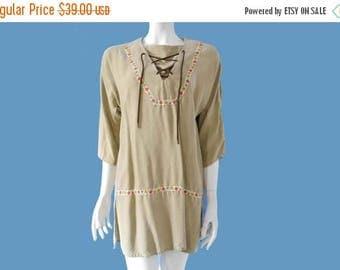 Summer Sale Vintage Boho Hippe Tunic Dress // Cotton Silk Folk Dress // Floral Trim Dres s// Hippie Dress // Size S M // 209