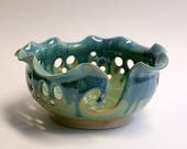 Pottery Yarn Bowl - Green Teal and Purple - Wheel Thrown and Altered Scalloped Rim