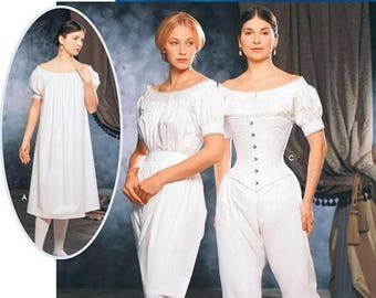 Misses Civil War Drawers, Chemise, and Corset Costume Sewing Pattern Simplicity 9769 Sizes 6-12 UNCUT