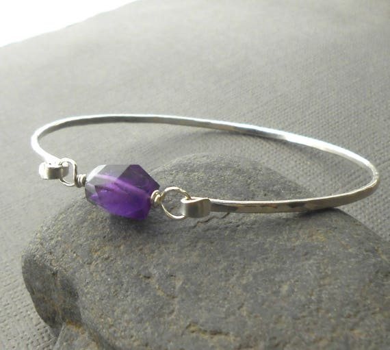 Silver Amethyst Bracelet, Sterling Silver Gemstone Bangle