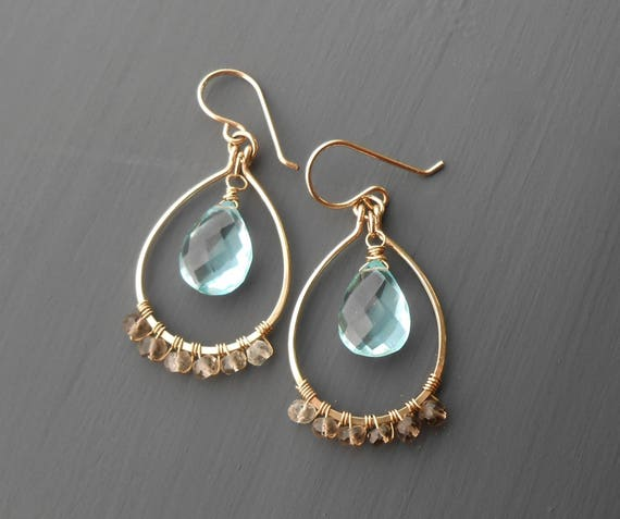 Wire Wrapped Gold Filled Earrings with Smokey and Aqua Quartz