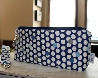 Zipper Pouch Clutch Wallet - Long Wallet - Cell Phone Wallet - Errand Runner Fabric Wallet Wristlet - Evening Bag - Blue Dots