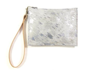 Mimi - Handmade Silver Hair On Cow Hide Leather Clutch Bag Zip Pouch Purse