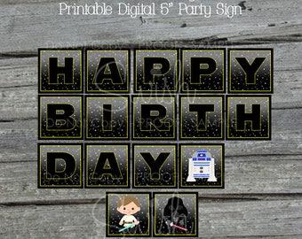 Space Birthday Banner   Star burst Printable Party Banner   Space Wars   Digital Download   Black   Birthday sign   Instant Download
