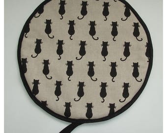 Aga Hob Lid Mat Pad Black Cat Round Hat Cover With Loop Topper Surface Saver Cats Country Kitchen Cute