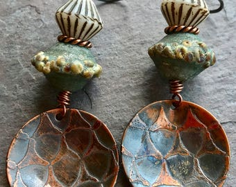 WILD SIDE - Handmade Lampwork, Handmade Etched Copper, Glass Beads, Copper & Sterling Earrings