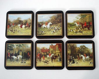 English Drink Coasters, Pimpernel Equestrian Drink Mats, Cork Backed Coasters, Horse Cocktail Mats, Vintage Barware Drinkware, Fox Hunting