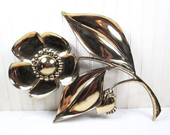 Vintage Syroco Flower Power Wall Hanging Art Plaque Gold Plastic 60s Retro 7444