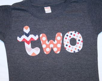 Boys lowercase TWO shirt for second birthday - size 2 short sleeve dark heather gray shirt with red orange navy grey chevron and polkadots