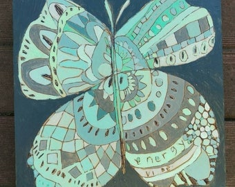 Butterfly Jennifer Mercede painting 8x8in 'Tiger Fly'