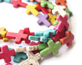 13 30mm Howlite Cross Beads Gemstone Beads Dyed Beads Mixed Color Beads Multicolor Beads Jewelry Making Beading Supplies Howlite Stone Beads