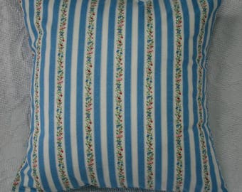 """16x16 Pillow Cover 16"""" Throw Pillow Cover Cottage Romance Blue Floral Stripe - Accent Pillow Cushion Cover (16-327**)"""