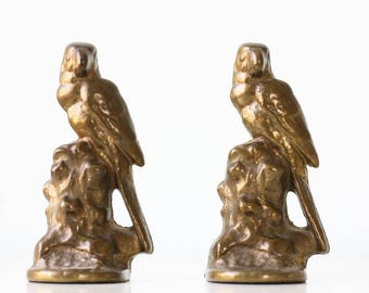Vintage Parrot Bookends, Cast Iron, Set of 2