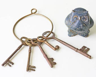 Vintage Ring of Keys, Decorative Hanging Key Set, Brass