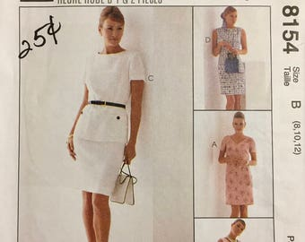 Vintage 90's Misses's 2 Hour Dress Sewing Pattern McCall's 8154 Bust 30-34 Complete