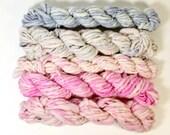 sweets ... handspun yarn set, weaving creative yarn bundle, hand spun, hand dyed yarn, handspun art yarn