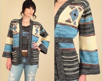 Vintage Wrap Sweater 70's Space Dye Cardigan // With Belt Belted Kimono Bell Sleeve // Southwestern HiPPiE BoHo