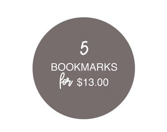 "Set of 5 Bookmarks | Book Aficionado | Unique Gift Idea | 2"" x 6"""