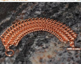 Copper Bracelet, Chain Maille Bracelet, Unisex Bracelet, , Men bracelet, Women Jewelry, 4 in 1 Weave