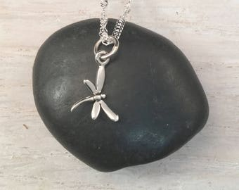 Tiny Dragonfly Pendant, Sterling Silver Necklace, fun gift