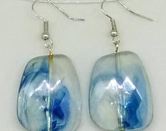 Blue Smoke Irregular Square Beaded Earrings